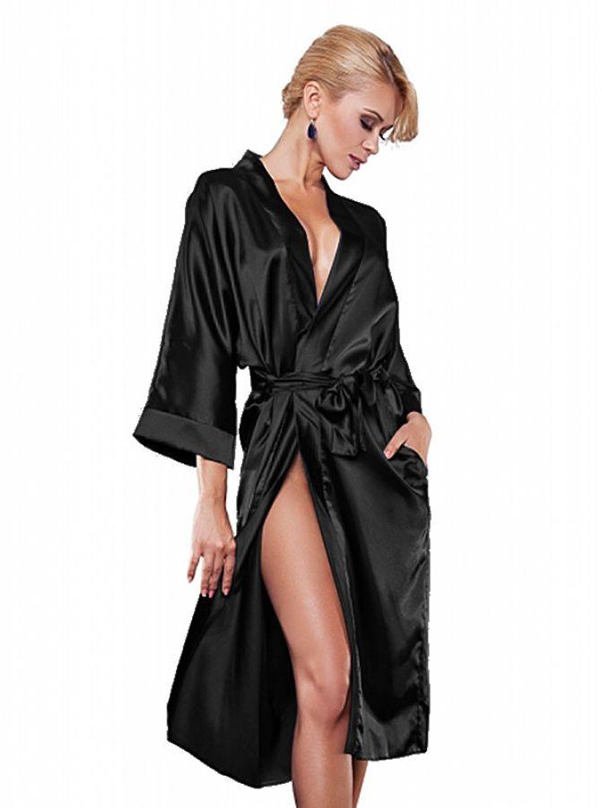 noble long robe de chambre lingerie de nuit kimono en satin noir 115s ebay. Black Bedroom Furniture Sets. Home Design Ideas