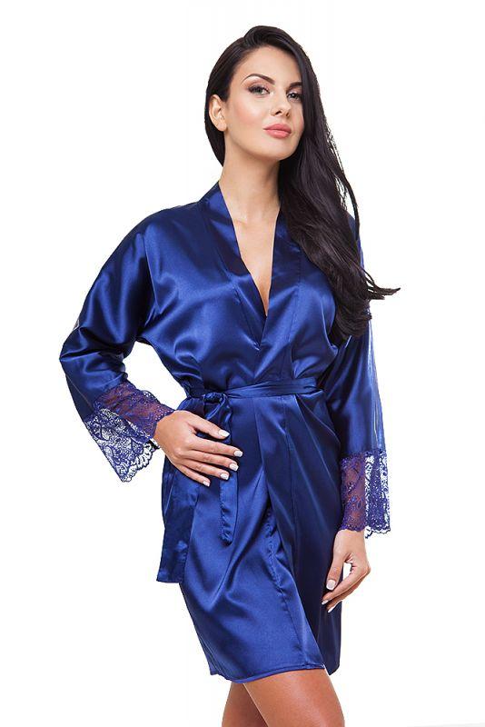 edler Morgenmantel Kimono Nachtwäsche aus Satin blau kurz mit Spitze VA34