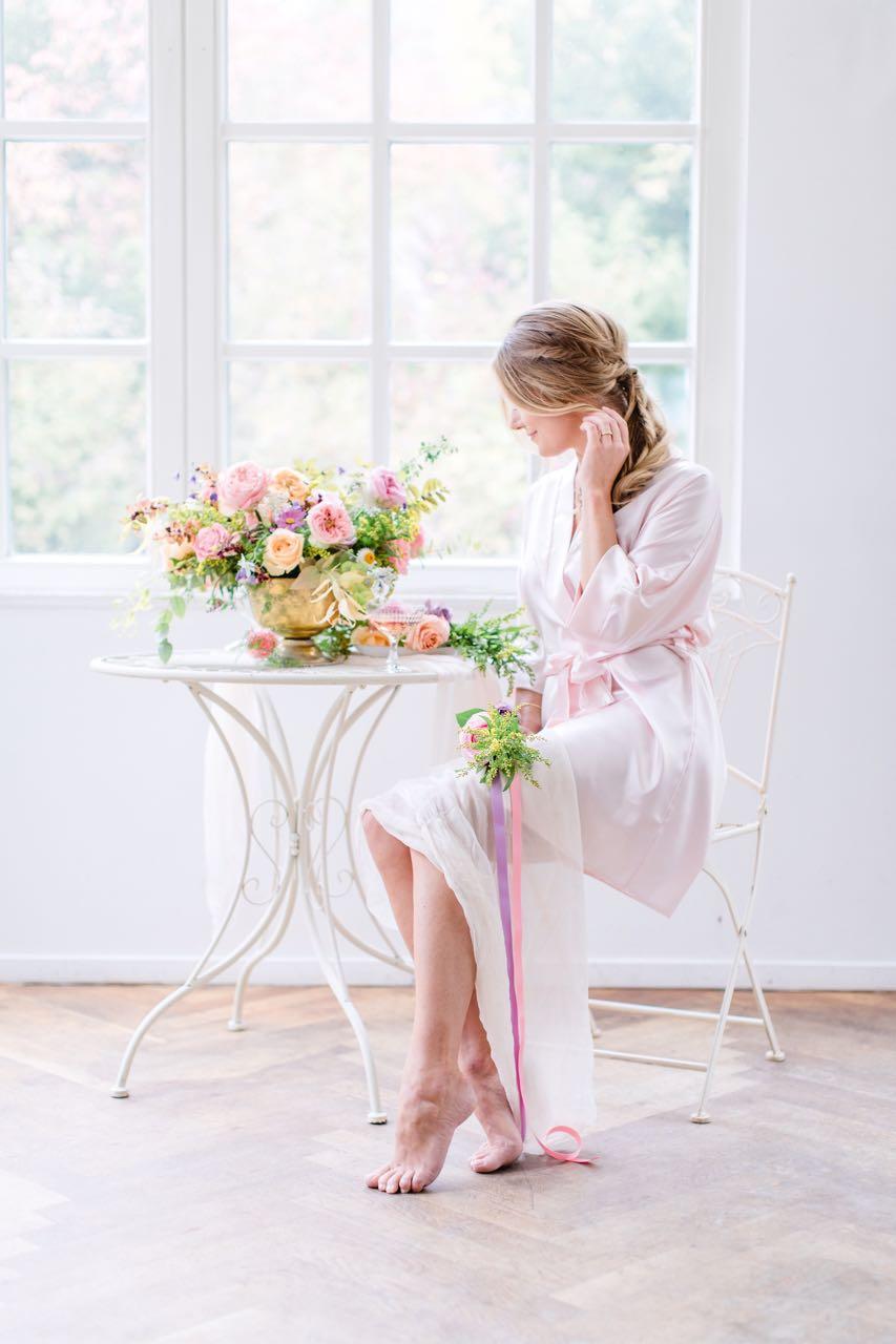 Brautjungfern Morgenmantel aus Satin rosa - 2