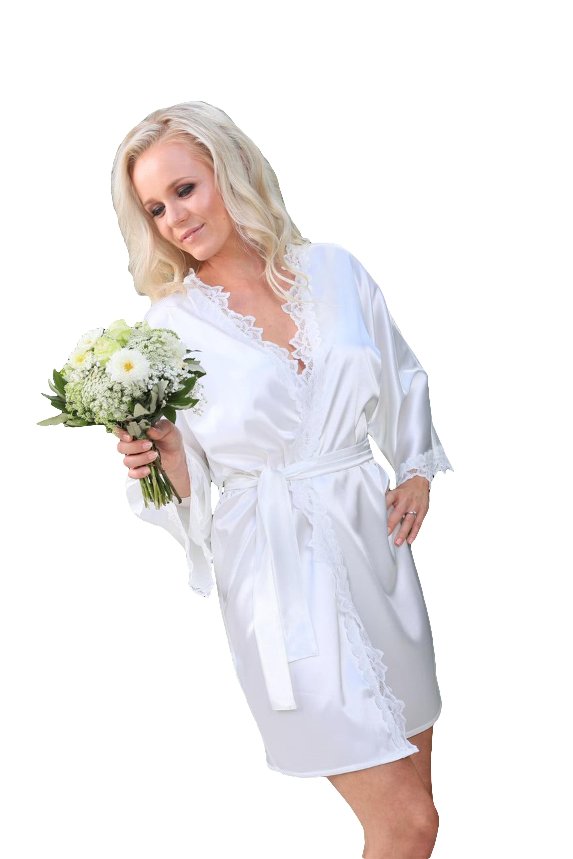 Damen Morgenmantel aus Satin mit Spitze weiß - ViolaReinweiß