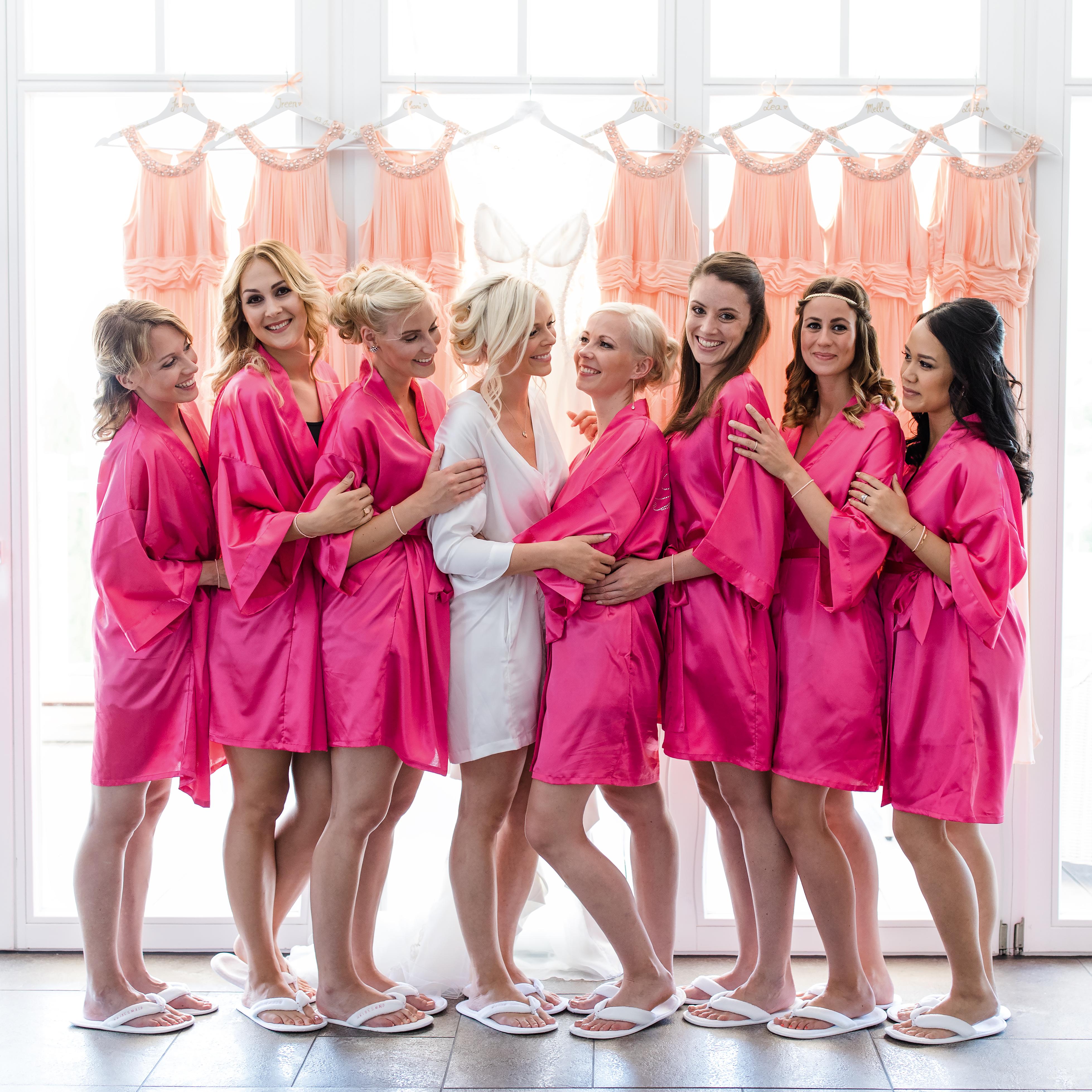Brautjungfern Morgenmantel aus Satin pink - 11