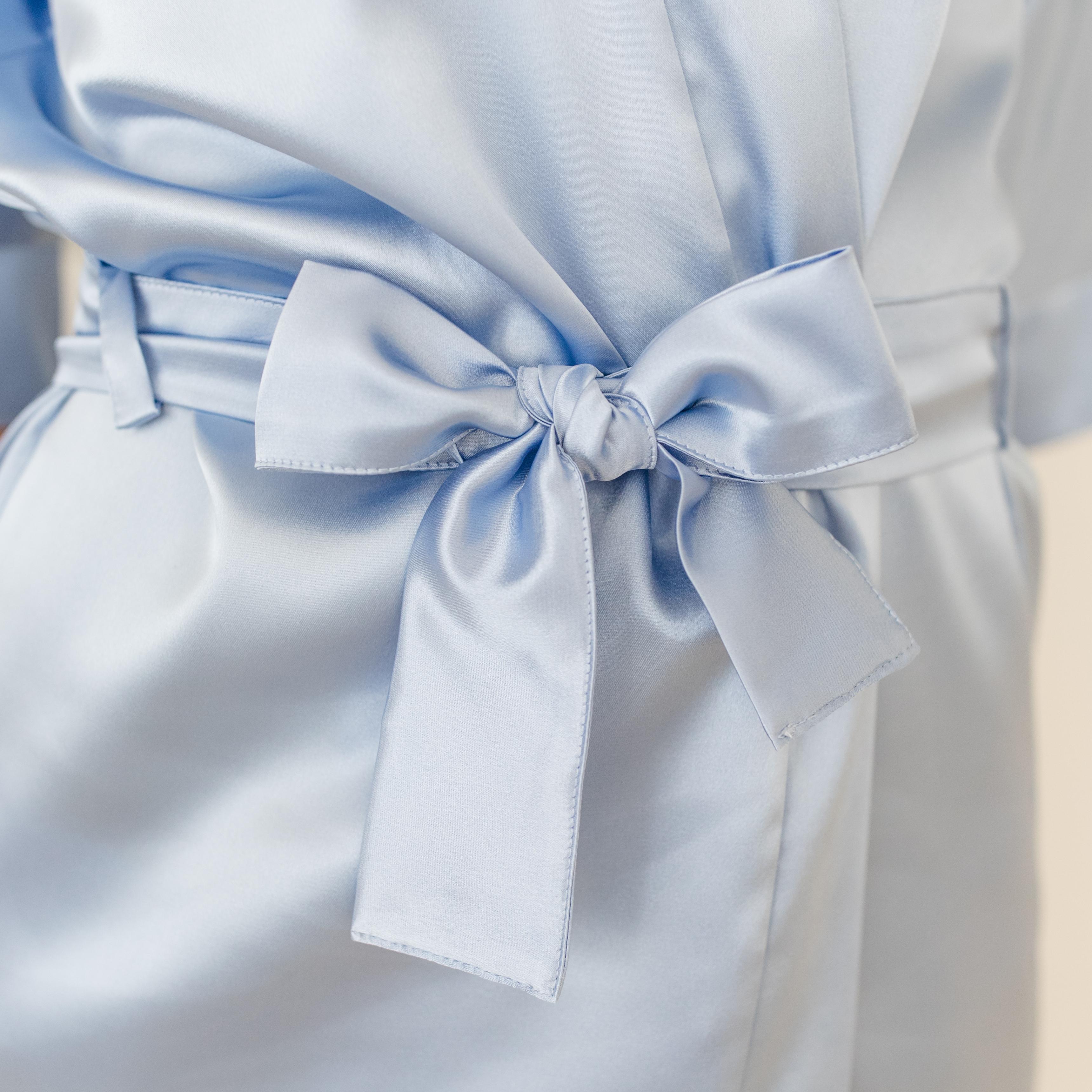 Kimono Morgenmantel Brautjungfern blau