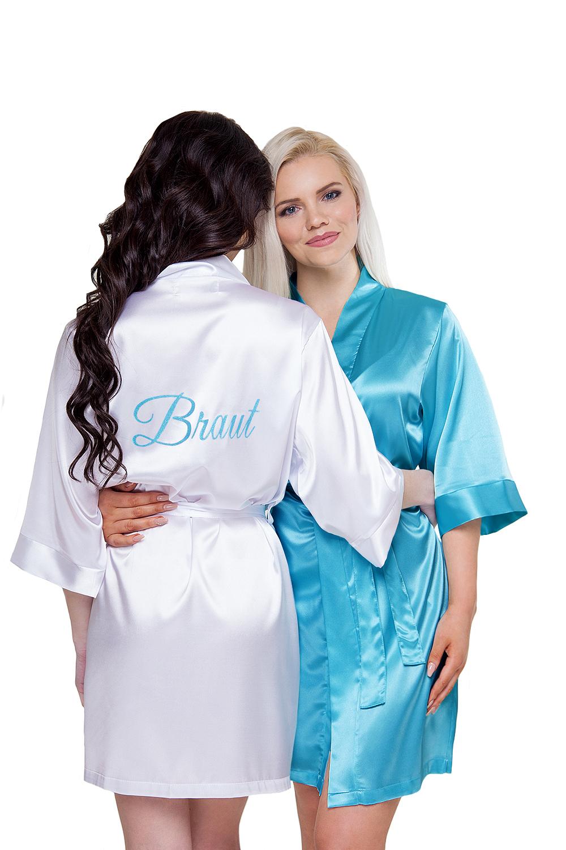Braut Morgenmantel Kimono Aufdruck beschriftet türkis pink weiß