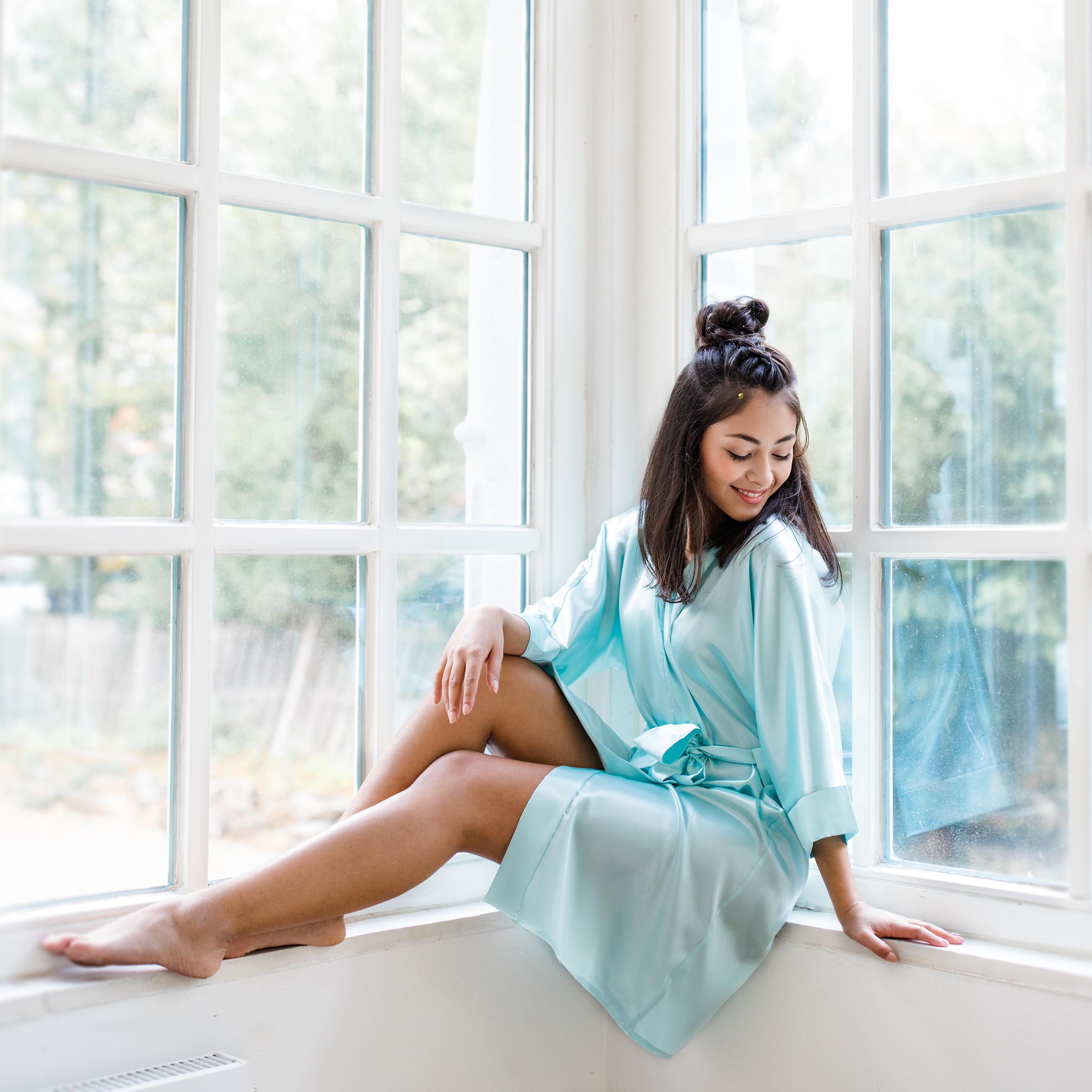 Brautjungfern Morgenmantel Kimono Satin mint mintgrün türkis