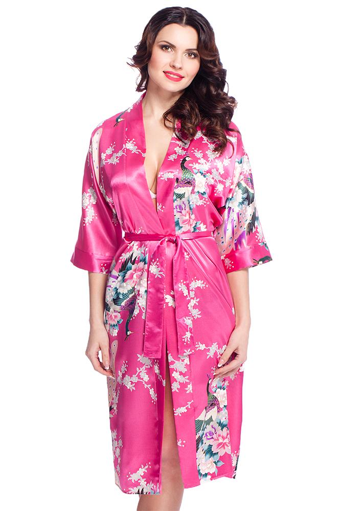 damen morgenmantel kimono aus satin mit muster pink lang va58. Black Bedroom Furniture Sets. Home Design Ideas