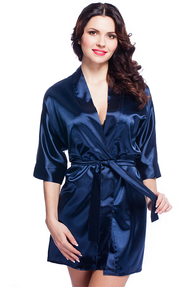 1d45c513e052a6 Damen Morgenmantel Kimono aus Satin dunkelblau kurz - VA59