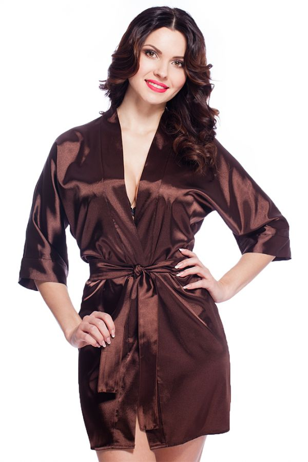 damen morgenmantel kimono aus satin schokolade kurz va63. Black Bedroom Furniture Sets. Home Design Ideas