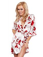 Damen Morgenmantel aus Satin Red Flowers - 8